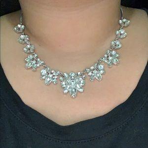 Silver cubic zirconia flower necklace